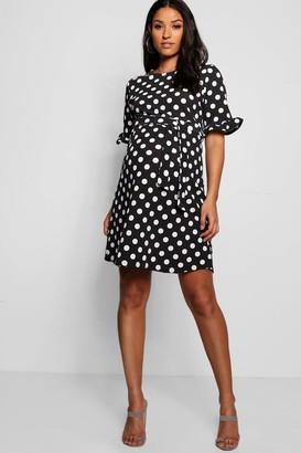 boohoo Maternity Spot Print Ruffle Smock Dress