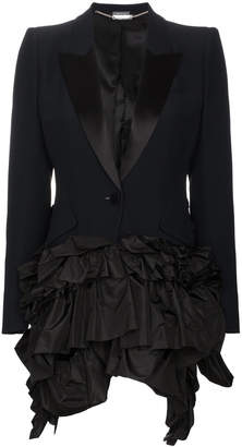 Alexander McQueen Silk Asymmetric Ruffle Blazer