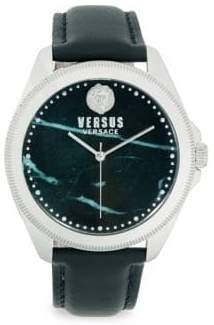 Versace Faux Marble Stainless Steel Analog Leather Strap Watch