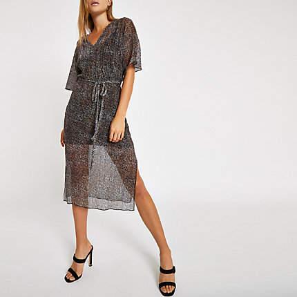 Womens Black leopard print batwing sleeve midi dress