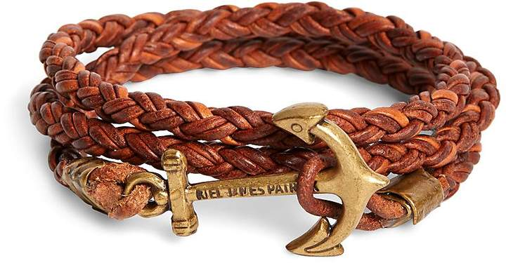 Brooks Brothers  Kiel James Patrick Walnut Leather Rope Bracelet