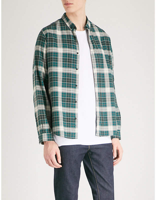 Checked fitted cotton shirt
