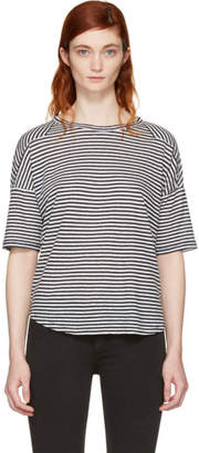 Rag & Bone White and Navy Striped Valley T-Shirt