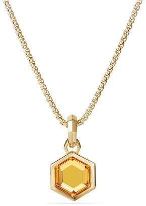 David Yurman Hexagon Cut Amulet with Citrine in 18K Gold
