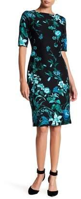 Gabby Skye Floral Print Scuba Midi Dress