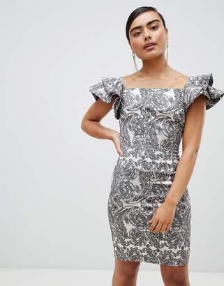 Vesper paisley frill sleeve midi dress