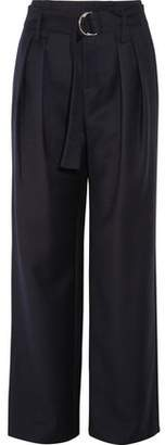 Frame Belted Wool-Twill Wide-Leg Pants