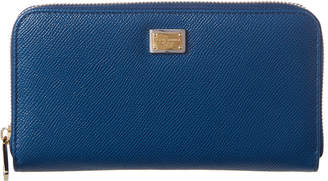Dolce & Gabbana Dauphine Leather Zip Around Wallet