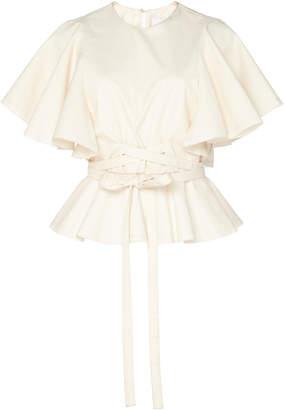 Johanna Ortiz Back To Basics Cotton-Blend Wrap Top