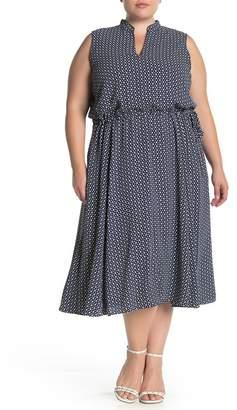 Anne Klein Printed Drawstring Waist Midi Dress (Plus Size)