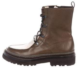 Brunello Cucinelli Leather Combat Boots
