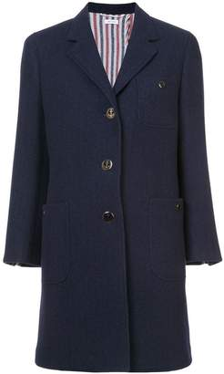 Thom Browne Unlined Button Back Sack Overcoat In Navy Solid Double Face Melton