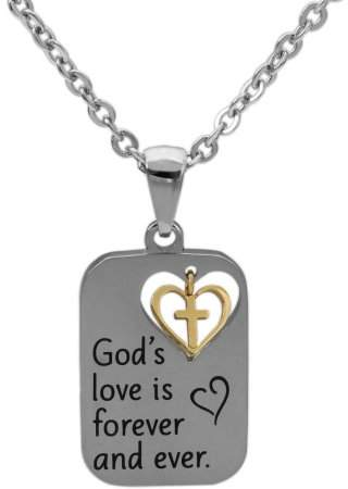 """Connections From Hallmark Connections from Hallmark Stainless Steel Two-Tone God's Love Pendant, 18"""" Chain plus 2"""" Extender"""