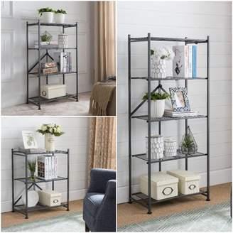 Pilaster Designs Marsden Gray Metal Transitional 3, 4 & 5 Tier Shelf Folding Storage Bookcase Home & Office Organizer Display Unit Set