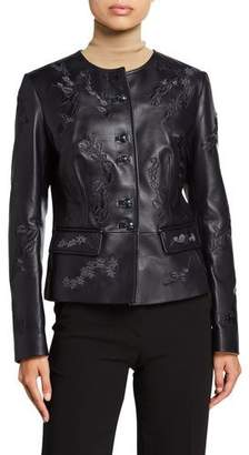 Escada Floral Embroidered Leather Jacket