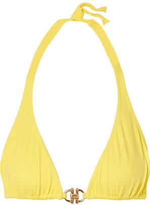 Melissa Odabash Bahamas Embellished Triangle Bikini Top - Yellow