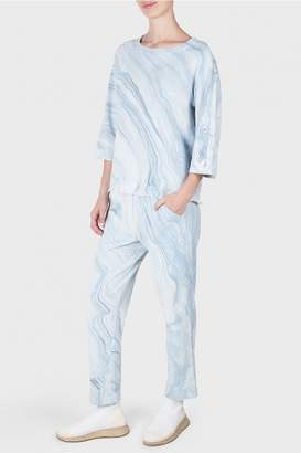 Raquel Allegra Blue Waves Marble Print French Terry Cropped Trousers