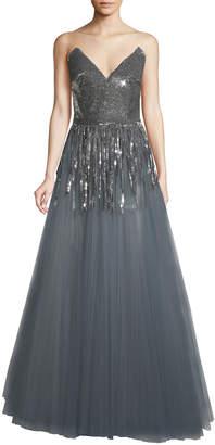 Oscar de la Renta Plunging Sequin-Fringe Ball Gown
