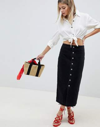 Asos Design DESIGN denim midi skirt with buttons in black
