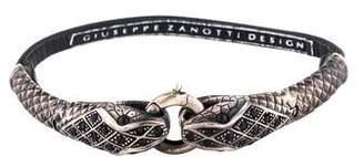 Giuseppe Zanotti Leather & Crystal Snake Wrap Bracelet