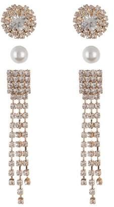Free Press Crystal & Faux Pearl Stud Earrings - Set of 3
