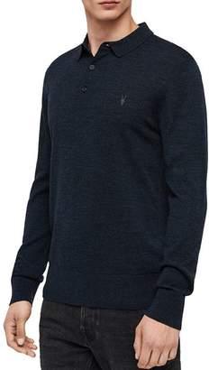 AllSaints Mode Merino Wool Slim Fit Polo Shirt