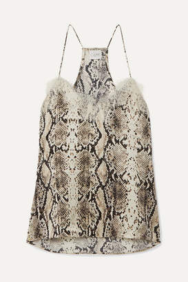 CAMI NYC The Racer Lace-trimmed Snake-print Silk-charmeuse Camisole - Gray
