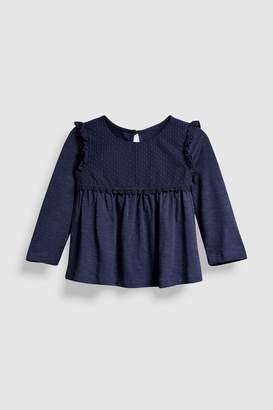 Next Girls Navy Long Sleeve Dobby Blouse (3mths-6yrs)