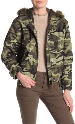 Love Tree Hooded Camo Jacket With Faux Fur Lining