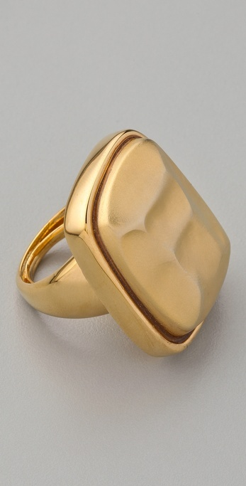 Kenneth Jay Lane Gold Hammered Stone Ring
