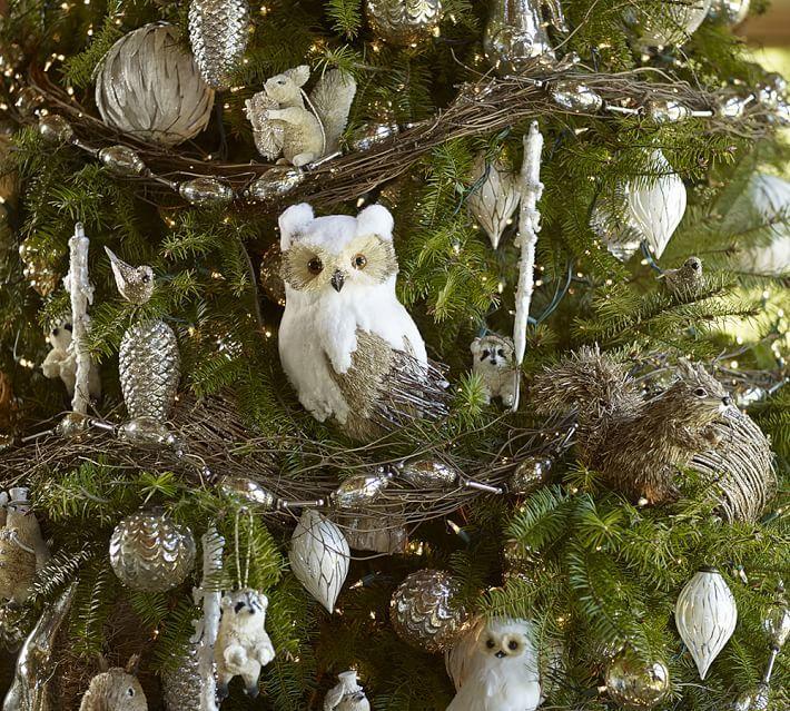 Pottery Barn Sequin Bird Clip Ornament, Set of 3