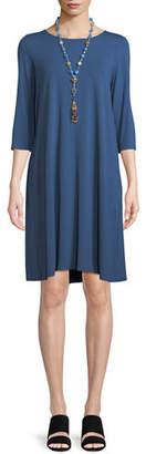 Eileen Fisher Jewel-Neck Jersey Shift Dress