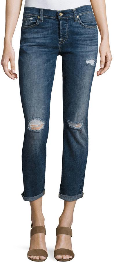 7 For All Mankind7 For All Mankind Skinny Distressed Boyfriend Jeans, Aspen Medium Blue