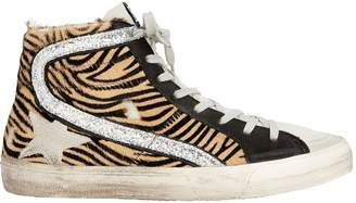 Golden Goose Slide Zebra Haircalf High-Top Sneakers