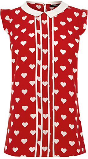 Heart Print Blouse, Multi Red