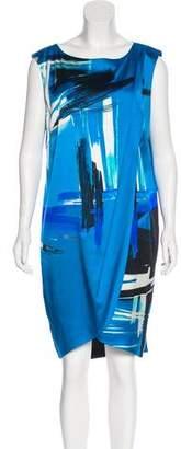 St. John Printed Sleeveless Knee-Length Dress