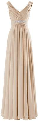 CaliaDress Women A Line Ruffles Long Prom Formal Gowns Bridesmaid Dress C160LF US