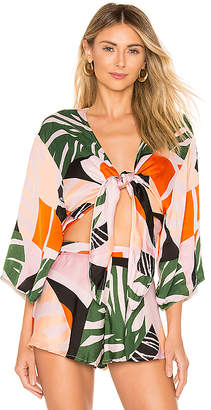 SKYE & staghorn Eddie Silk Satin Kimono Top