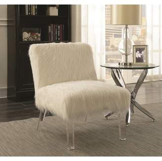clear Coaster Company Coaster Accent Chair in White, Acrylic finish
