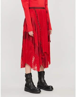Sacai High-waist chiffon skirt
