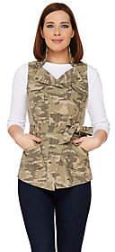 G.I.L.I. got it love it G.I.L.I. Camo Printed Zip Collar Belted Vest
