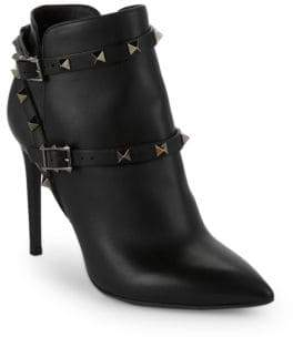Valentino Double Buckle Rockstud Leather Booties