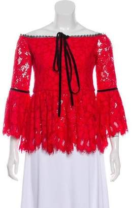 f8e67002d73d3 Red Long Sleeved Lace Top - ShopStyle