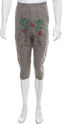 By Walid Linen Embroidered Drop-Crotch Jogger Shorts