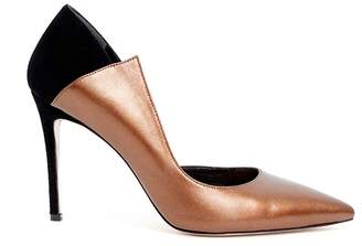 WtR Sculpture Bronze Leather Pointed Toe Heels