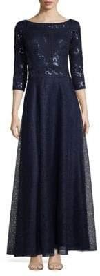 Tadashi Shoji Three-Quarter Sleeve A-Line Sequined Gown