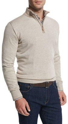 Peter Millar Cashmere-Blend Quarter-Zip Pullover Sweater, Sand $348 thestylecure.com