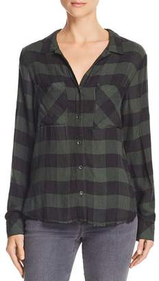 Bella Dahl Frayed Hem Plaid Button-Down Shirt
