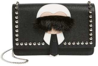 Fendi 'Karlito' Genuine Mink Fur & Studded Leather Wallet on a Chain