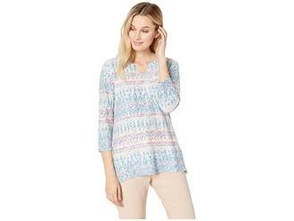 FDJ French Dressing Jeans Textures Horizon Print Notched Crew 3/4 Sleeve Top